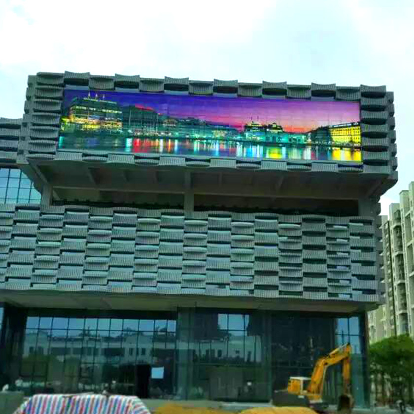 Atop screen glass led display screen with high transparency for building facades